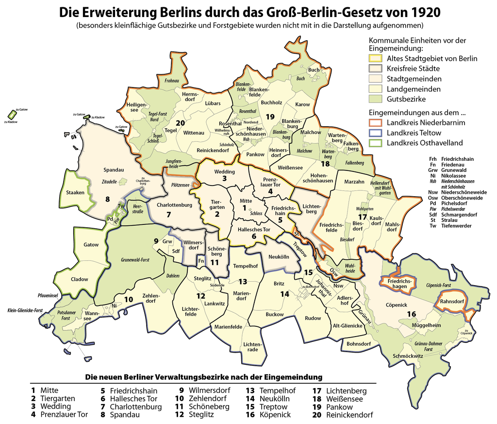carte projet arrondissement grand berlin 1920